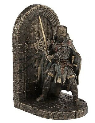 """7.75"""" Medieval Armored Maltese Crusader Bookend Knight Statue Warrior Sculpture"""