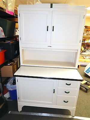 Antique Sellers Hoosier white hutch cabinet cupboard refinished