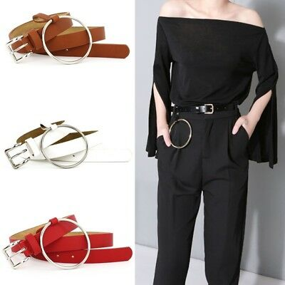 Women Belt Large Ring Pin Buckle Solid PU Leather Skinny Strap Pendant WaistbanD