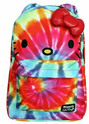 NWT Loungefly Hello Kitty Rainbow Tie Dyed Backpack w/ Ears & Red Plush 3D Bow