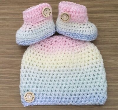 Newborn To 3 Months Knitted / Crochet  Hat  /beanie/  Baby Bootie  Shoe Set