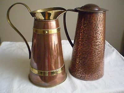 Vintage/antique Copper And Brass Jugs X 2 (Tw0) Timeless Appeal!