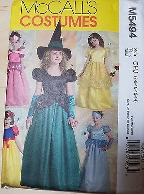 McCall's Costumes M5494 Size CHJ 7-14 PRINCESS AND PRETTY WITCH
