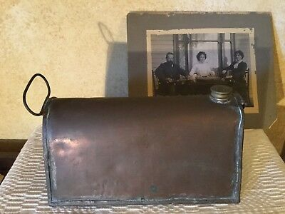 Antique Victorian Copper Carriage Hot Water Bottle Foot Warmer