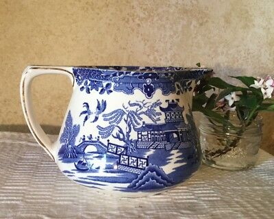 Antique Vintage Burleigh Ware Burslem Blue & White Large Willow Jug