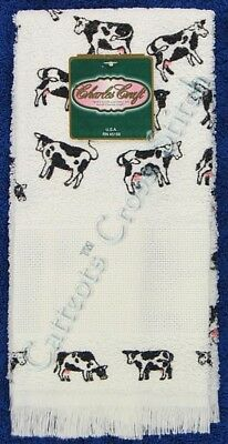 """Hand Towel To Cross Stitch Black & White Cows Aida Insert Terry 14"""" x 25"""" OOP"""