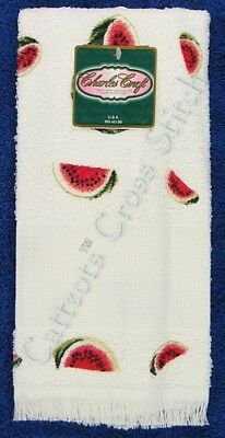 "Hand Towel to Cross Stitch Watermelon Aida Insert Terry 14"" x 25"" OOP"