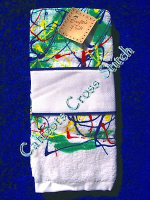 Hand Towel To Cross Stitch With Aida Band Abstract Bright Colourful OOP