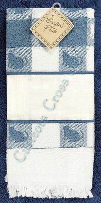Hand Towel To Cross Stitch With Aida Band Blue Cat Silhouette OOP