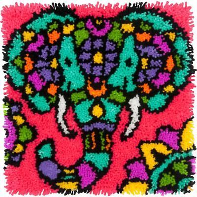 """Latch Hook Kit Colourful Elephant 16"""" x 16"""" Dimensions Printed Canvas"""