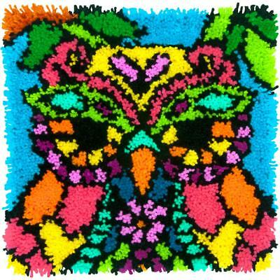 """Latch Hook Kit Colourful Owl 16"""" x 16"""" Dimensions Printed Canvas"""