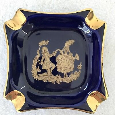 Vintage LIMOGES France COBOLT BLUE & GOLD ASHTRAY excellent condition