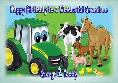 Personalised birthday card tractor large A5 size son grandson nephew