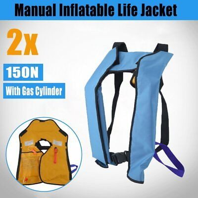 x2 ADULT Inflatable Life Jackets PFD1 Type Manual LifeJackets Level 150 Blue TH