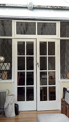 Wooden French Doors With Leaded Glass Windows, Original 1935 Vintage, Patio