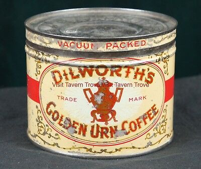 1930s Dilworth's Golden Urn One Pound  Coffee Tin Pittsburgh PA