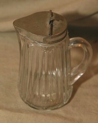 Antique Glass Syrup Dispenser Pat Date Jan 13, 1914 Plated Lid
