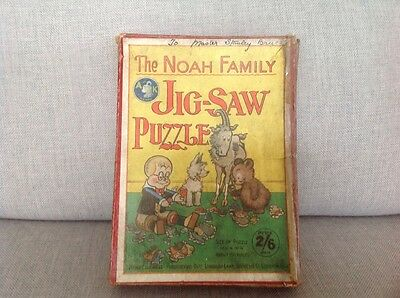 """Rare Vintage """" New Chronicle """" 150 piece woodern Jigsaw """" The Noah Familly"""""""