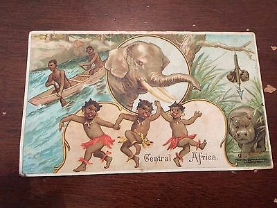 c.1890's Arbuckle Coffee Central Africa Victorian Trading Card Black Americana