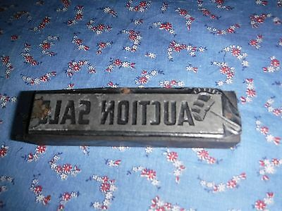 Antique Printing Block Metal on Wood  Auction Sale Wood is 4 x 1 Inches