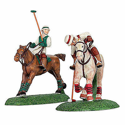 NEW Dept 56 Polo Players Horses Set of 2 Dickens Village 56.58529 NOS MIB 58529