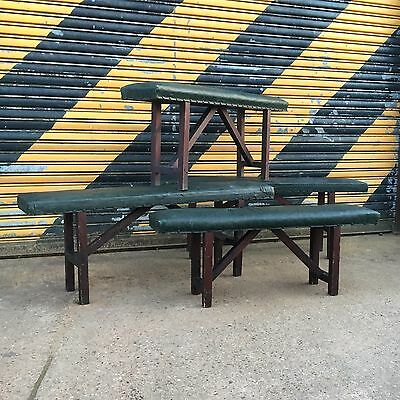 Vintage padded school benches. Antique benches. x4 available.