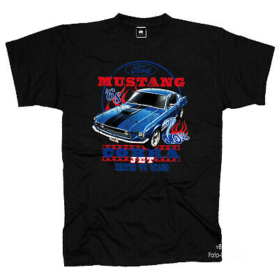 FORD MUSTANG COBRA Muscle Car Shelby 60s vintage RISATE T-SHIRT 0192 BL