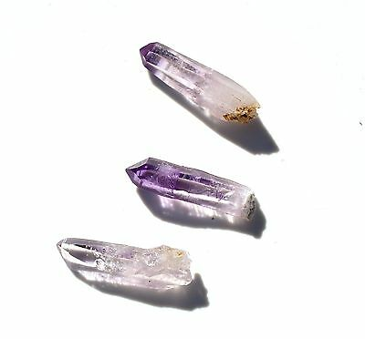 Vera Cruz Amethyst Las Vigas Mexico RARE L 15mm W 4-6mm 1 lot 3 crystals