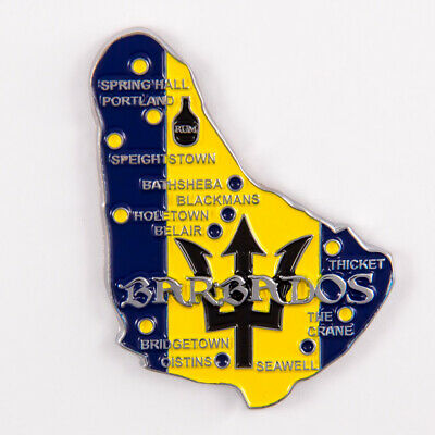 Metal Fridge Magnet: Barbados. Map of Barbados (Chrome Plating and Enamel)