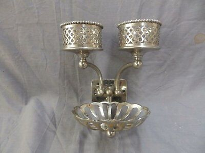 Antique Nickel Brass Double Beaded Cup Holder Soap Dish Silver Co. VTG 418-17P