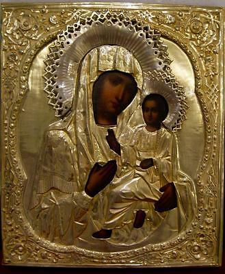 "Antique Russian  icon of ""Mother of GOd of Tichvin"" silver-gilted oklad"