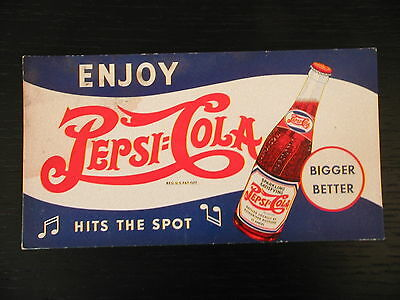 1941 Pepsi-Cola Hits The Spot Red White Blue World War 2 Ink Blotter Original