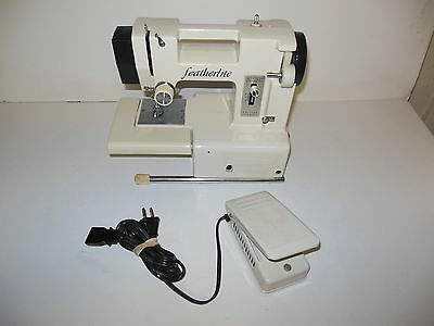 Vintage White Featherlite De Luxe Compact Sewing Machine GUC Needs Adjustment?!?