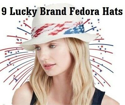 Wholesale Lot 9 NEW Lucky Brand Americana Fedora Hat Natural with Tie MSRP $355