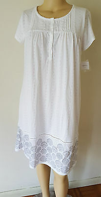 NWT Croft & Barrow Womens Nightgown Knit White Floral Cotton Blend