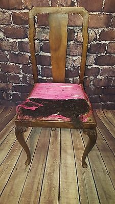 Antique Vintage Ornate Decorative Wooden Queen Anne Bedroom Dining Chair Seat