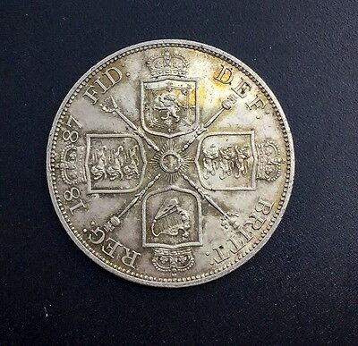 Gt Britain 1887  Arabic 1 Double Florin Pretty Original Toned Lustrous