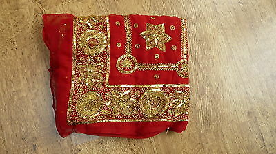 vintage red BN wedding retro sequinned Indian salwar kameez SARI lengha SA13644