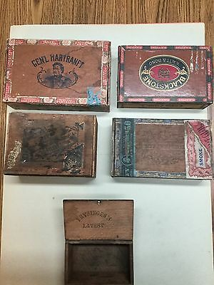 Antique Vintage cigar box Lot (5) wood boxes