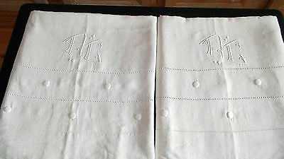 French antique hand embroidered large linen sheets mono AC dots pull out thread