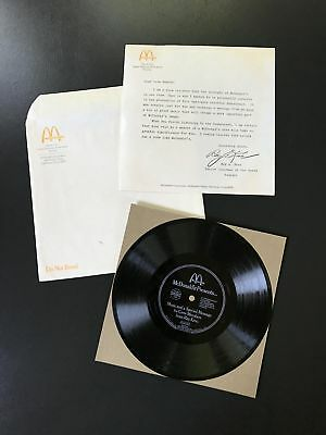 1979 McDonald's Ray Kroc Message for Crew Members – 33 rpm Record & Letter