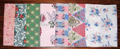 "Vintage Floral Feedsack Fabric   7 ~  6"" x 18"" Pieces"