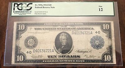 Fr. 919a 1914 $10 Federal Reserve Note Cleveland Ohio Fine 12 PCGS