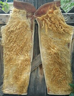 Antique Woolie Wooly Angora Chaps Western Cowboy