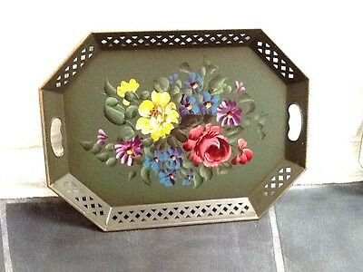 """Vintage NASHCO Hand Painted Tole/Toleware Floral Painting Metal Tray, 20"""""""