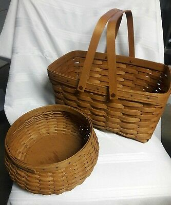 SET of (2) longaberger baskets 2004,2006 good condition HAND MADE in USA