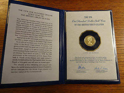 1978 $100 Gold Proof Coin of the British Virgin Islands