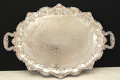 Gorgeous Large Silver Plate Oval Serving Tray