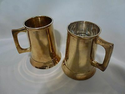 Brass Mug India Tankard Stein Pair (2), India, Vintage