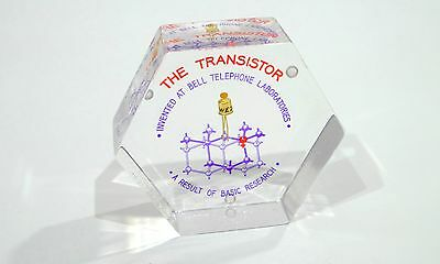 BELL LABS Western Electric LUCITE Paperweight 1960's hexagonal version!